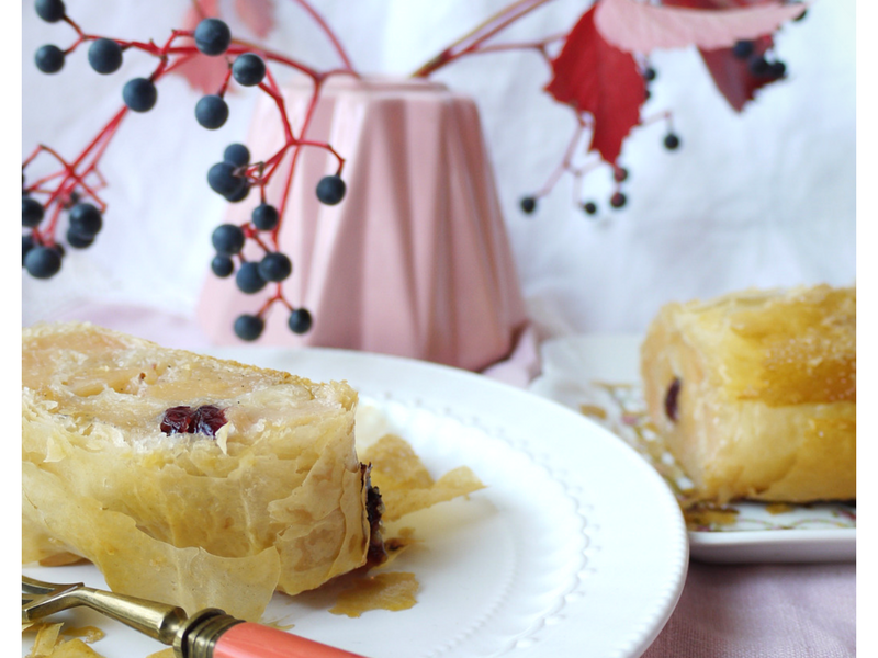 Strudel aux coings, chocolat blanc et cranberries