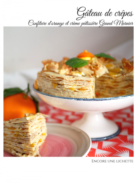 Gâteau de crêpes, orange, Grand marnier